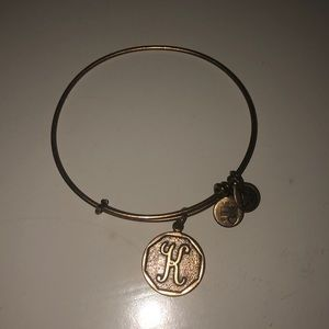 K initial gold Alex and Ani adjustable bracelet